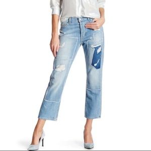 SIWY Denim Jane B Distressed Patch Crop Jeans